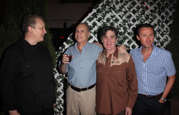 Rick Elice, Marshall Brickman, Roger Rees & Andrew Lippa attending the After Performance Reception for Brooke Shields debut in 'The Addams Family' at the Empire Hotel Roof in New York City. at THE ADDAMS FAMILY Welcomes Brooke Shields - After Party