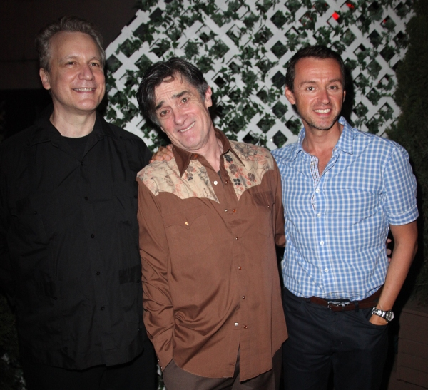 Rick Elice, Roger Rees & Andrew Lippa attending the After Performance Reception for Brooke Shields debut in 'The Addams Family' at the Empire Hotel Roof in New York City. at THE ADDAMS FAMILY Welcomes Brooke Shields - After Party