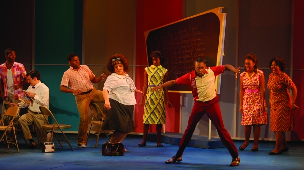 L to R: Jared Mancuso, Nik Alexzander, Evan Michael Smith, Daneille Arci, Paige Williams, Eric LaJuan Summers, Tamala Baldwin and Christy Clark at Engeman Theatre's HAIRSPRAY