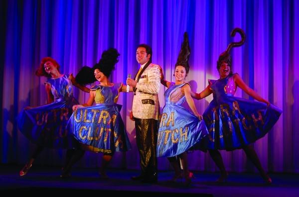 L to R: Malorie Bryant; Kara DeYoe; Nick Dalton; Kelli Gautreau and Sara Dobrinich at Engeman Theatre's HAIRSPRAY