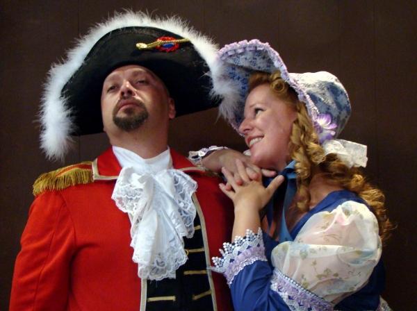 Seth Spitler as Sir Joseph and Jennifer O'Hara as Cousin Hebe