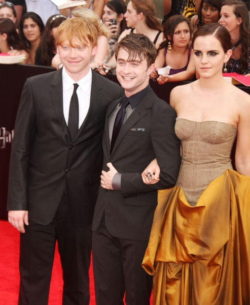 RUpert Grint, Daniel Radcliffe and Emma Watson at Daniel Radcliffe, Alan Rickman & More at the HARRY POTTER AND THE DEATHLY HOLLOWS NYC Premiere