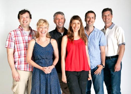 (from left) Rod Brogan, Angela Pierce, Michael Warner, Natalie Gold, director Henry W Photo
