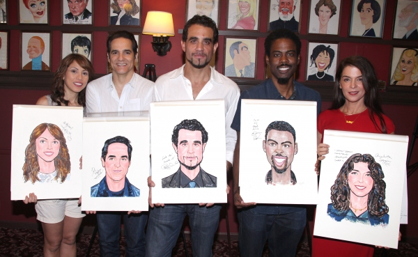 Elizabeth Rodriguez, Yul Vazquez, Bobby Cannavale, Chris Rock and Annabella Sciorra attending the celebration as Sardi's honors all five cast members from the Broadway production of 'The Motherf**ker with the Hat'  in New York City
