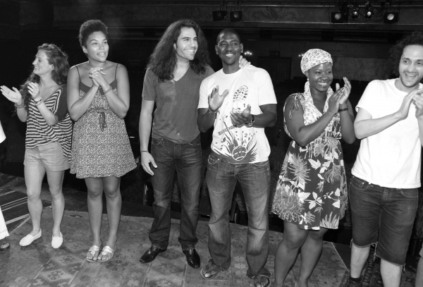 Steel Burthardt & Mike Evariste with Ensemble Cast celebrating the Opening Night Gypsy Robe Ceremony for Recipient Arbender Robinson in 'Hair' at the St. James Theatre  in New York City.