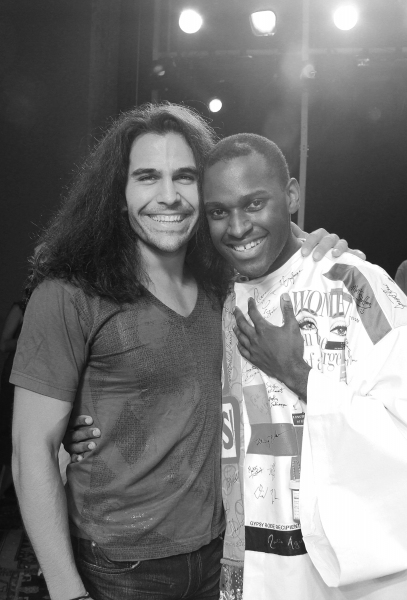 Steel Burthardt & Arbender Robinson celebrating the Opening Night Gypsy Robe Ceremony for Recipient Arbender Robinson in 'Hair' at the St. James Theatre  in New York City.