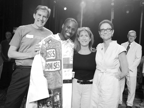Nick Wyman, Arbender Robinson, Rebecca Kim Jordan (AEA 2nd V.P. Chair, ACCA) & Actors Equity Executive Director Mary McColl celebrating the Opening Night Gypsy Robe Ceremony for Recipient Arbender Robinson in 'Hair' at the St. James Theatre  in New York C