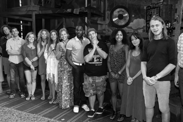 Arbender Robinson with Ensemble Cast celebrating the Opening Night Gypsy Robe Ceremon Photo