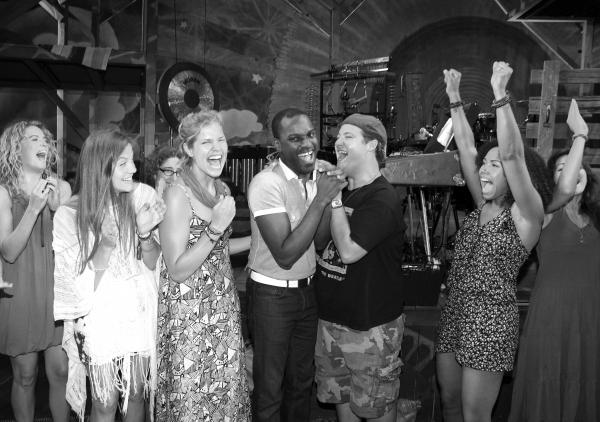 Arbender Robinson  & Ensemble Cast celebrating the Opening Night Gypsy Robe Ceremony  Photo
