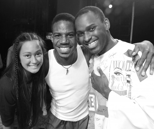 Kaitlin Kiyan, Darius Nichols & Arbender Robinson celebrating the Opening Night Gypsy Robe Ceremony for Recipient Arbender Robinson in 'Hair' at the St. James Theatre  in New York City.