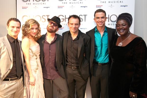 Andrew Langtree, Caissie Levy, Richard Fleesham and Sharon D.Clarke with Dave Stewart (Books and lyrics) and Matthew Warchus (Director) at Celebrity Arrivals at West End Opening of GHOST!