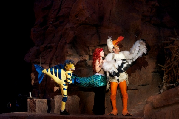 Payton Kemp (Flounder), Michelle Pruiett (Ariel), Vincent D'Elia (Scuttle)  at Tuacahn Center's THE LITTLE MERMAID