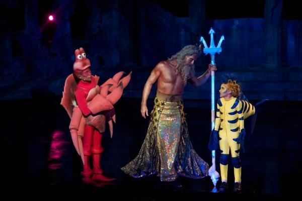 Lawrence Cummiings (Sebastian), Christian Whelan (King Triton) and Payton Kemp (Flounder)