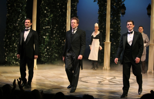 Max Von Essen, Don Stephenson, Matt Cavenaugh during the Roundabout Theatre Company's Opening Night Curtain Call for 'Death Takes A Holiday'  in New York City.  at Roundabout's DEATH TAKES A HOLIDAY Opens Off-Broadway!