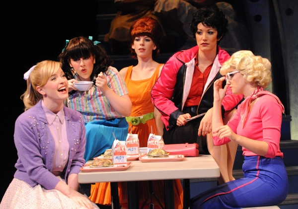 Jessica Lauren Ball and the Pink Ladies (L to R: Allie Parris as Jan, Caitlin Shea as Frenchy, Caroline Bowman as Rizzo, Maria Rizzo