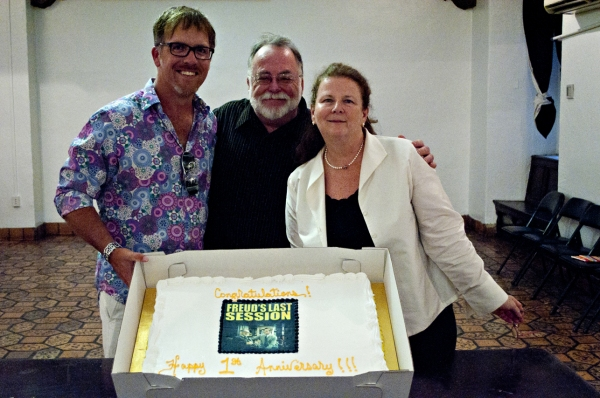 Playwright Mark St. Germain (center) with producers Carolyn Rossi Copeland (right) and Robert Stillman (left)