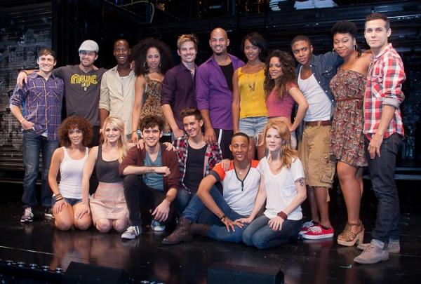 The full cast with swings Joaquina Kalukango, Sean Michael Murray, Xavier Cano, and Genny Padilla