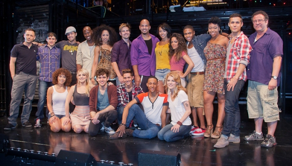 The full cast of RENT with Michael Greif and Larry Keigwin Photo