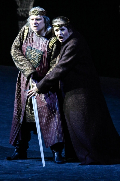 July 30, 2011 - Salzburg, Austria - ZELJKO LUCIC as Macbeth and TATIANA SERJAN as Lady Macbeth perform during the rehearsal for the Macbeth opera at Salzburg Festival 2011.(Credit Image: © PPS Vienna/ZUMAPRESS.com)