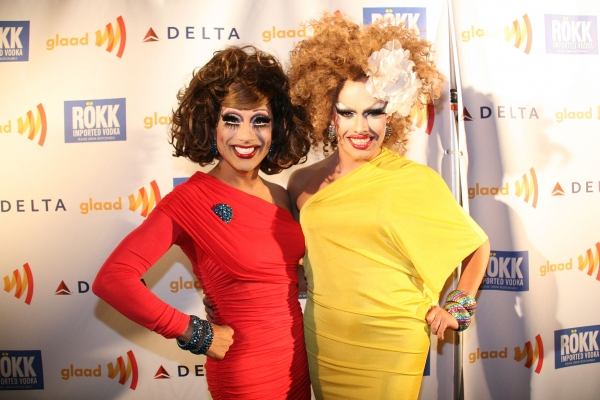 Bianca del Rio & Logan Hardcore. Photo Credit: Peter Lau Photography at Lampanelli, Bass, et al. at GLAAD Event!