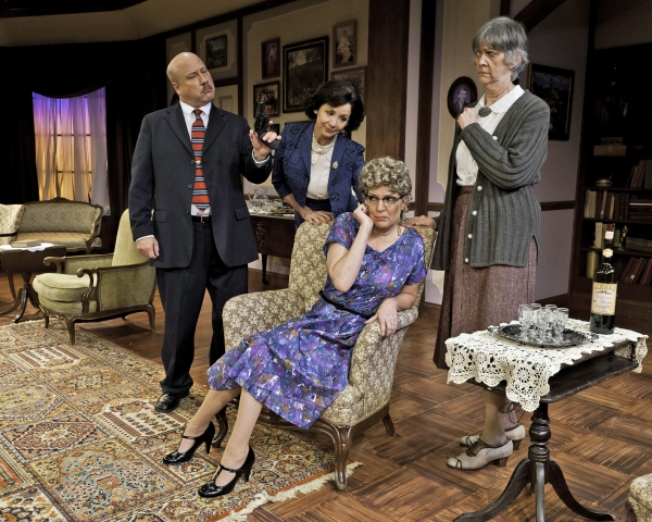 Kyle Kennedy as Inspector Craddock, Mary Williams as Letitia Blacklock, Rebecca McGraw as Dora Bunner and Carol Burns as Miss Jane Marple