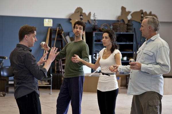 David works with Robert O. Berdahl (Captain Corcoran) Heather Lindell (Josephine) and Peter Thomson (Sir Joseph Porter) during a rehearsal for H.M.S PINAFORE. Photo Credit: Heidi Bohnenkamp