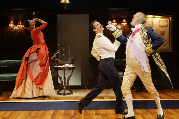 Robert O. Berdahl (Captain Corcoran) Heather Lindell (Josephine) and Peter Thomson (Sir Joseph Porter)