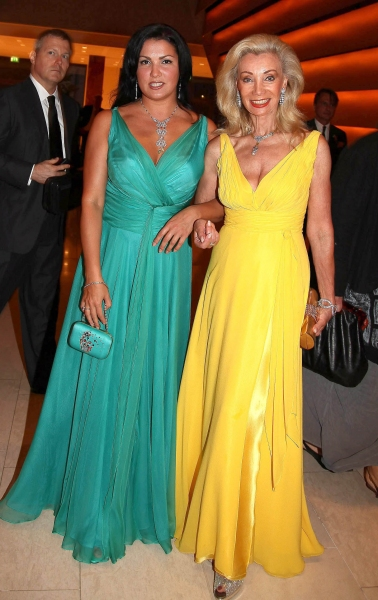 Opera singer Anna Netrebko and Elisabeth Himmer-Hirnigel at MACBETH Arrivals at Salzburg Festival 2011
