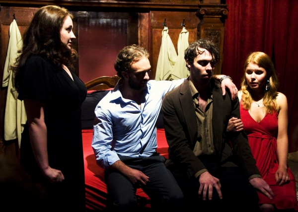 Vanessa Vache as Caroline Wyatt, James Kautz as Robert Wyatt, Byron Anthony as Theodore Williams and Anna Stromberg as Allison Williams in Pink Knees on Pale Skin.