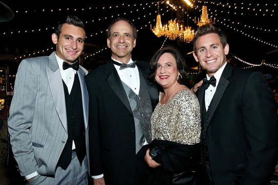 (from left) Justin, Mark, Hanna and Jeff Gleiberman at the 2011 Globe Gala Honoring Audrey Geisel, July 30, 2011. Photo by Carol Sonstein.