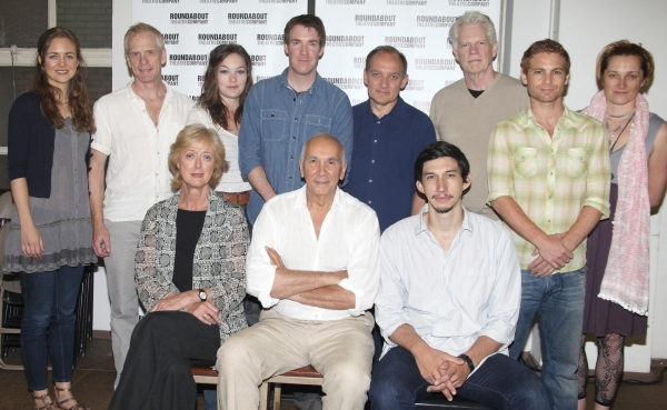 Actors Allison Jean White, John Hickok, Virginia Kull, Brian Hutchinson, Zach Grenier, Michael Siberry, Vayu O'Donnell, Francesca Faridany (bottom row L-R) Maria Aitken, Frank Langella, and Adam Driver
