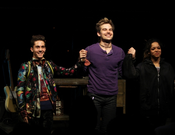 Michael Wartella, Matt Shingledecker, Arianda Fernandez during the Off-Broadway Opening Night Curtain Call for 'RENT' at the New World Stages in New York City.