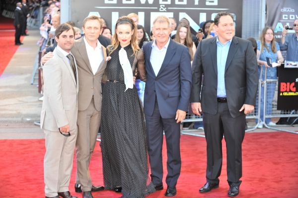 Daniel Craig, Olivia Wilde, Harrison Ford and director Jon Favreau  at COWBOYS & ALIENS Premieres in London