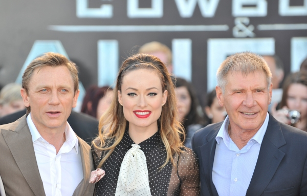 Daniel Craig, Olivia Wilde and Harrison Ford at COWBOYS & ALIENS Premieres in London