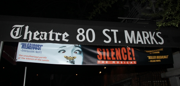 Theatre Marquee for the Off-Broadway Smash Hit Silence! The Musical at Theatre 80 St. Marks. The production is directed and choreographed by Christopher Gattelli. The show, with a book by Hunter Bell and music and lyrics by Jon and Al Kaplan, is an unauth at Mario Cantone and Christine Pedi Visit SILENCE! The Musical