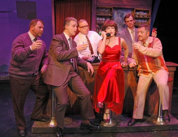 Amy Polumbo (center) as Rosie Alvarez is surrounded by (from left) Gary Cook, Wesley Barnes, John R. McFerrin, Stephen Garrett and Brent Davis