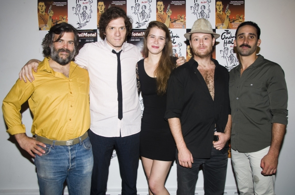 Brian Mendes, Adam Rapp, Katie Broad, William Apps and Matthew Pilieci at Opening Night of HOTELMOTEL at The Gershwin Hotel