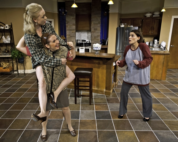 Charlotte Fox as Molly, Erica Livingston as Debra and Morgan Reis as Nicky at Cortland Rep's SMELL OF THE KILL