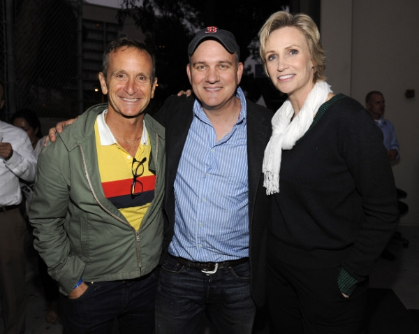 SANTA MONICA, CA - AUGUST 15: (L-R) Executive Producer Dante Di Loreto, and actors Mike O'Malley and Jane Lynch attend the Fox's 'Glee' Sing-A-Long event at Santa Monica High School on August 15, 2011 in Santa Monica, California. (Photo by Frank Micelotta