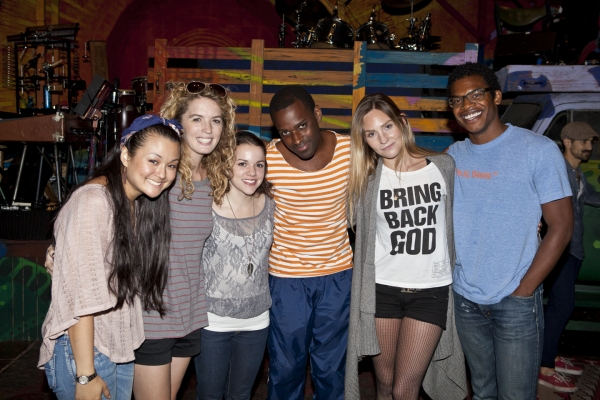 Cailan Rose, Kacie Sheik, Anne Markt, Arbender Robinson, Aleque Reid and Max Kumangai at HAIR Celebrates 300th Performance!