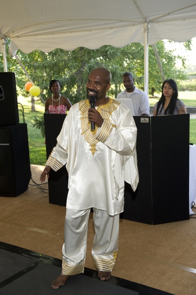 Ronald K. Brown welcomes the guests at Evidence Dance Company Holds 8th Annual On Out Toes in the Hamptons