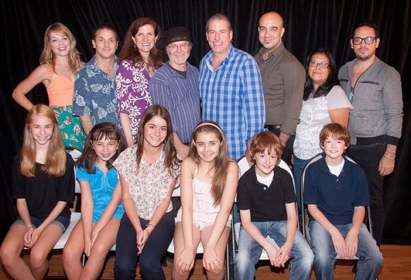 Jillian Louis, Jeffrey Lodin (music director), Tina Stafford, Tom Megan (composer, lyricist, librettist), Gabe Barre (director), Eric Anderson, Isabel Rubio (costume designer) and Julio Hugo Penagos (choreography assistant) (front row: l-r) Leah Greenhaus