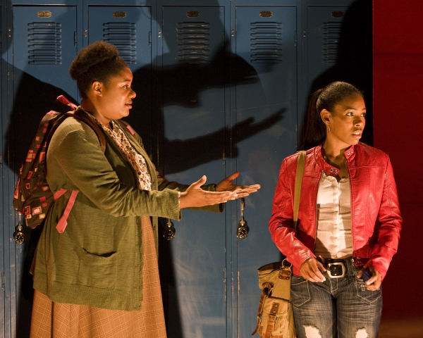 "Adrienne C. Moore (left) and Angela Lewis as ""Annie"""