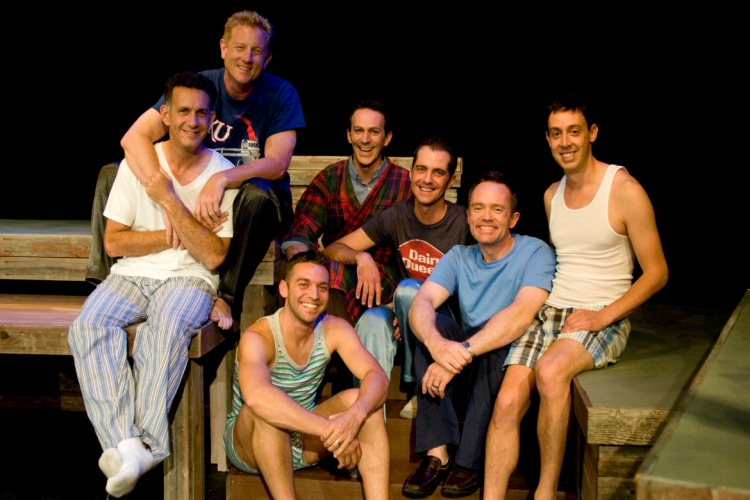 High Res Charles Wingerter (Perry), Andy Anderson (Arthur), Shane Delavan (John/James), Preston Lee Britton (Buzz), Todd Black (Gregory), Chris Silberman (Bobby), Keith Rabin Jr. (Ramon) in front