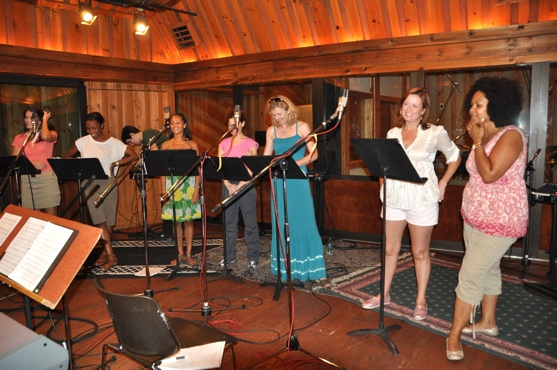 Elizabeth DeRosa, Amber Owens, Tia Altinay, Kathy Calahan, Julie Barnes, Kristin Carbone and Janelle Robinson at MARY POPPINS Records for 'Carols For A Cure'