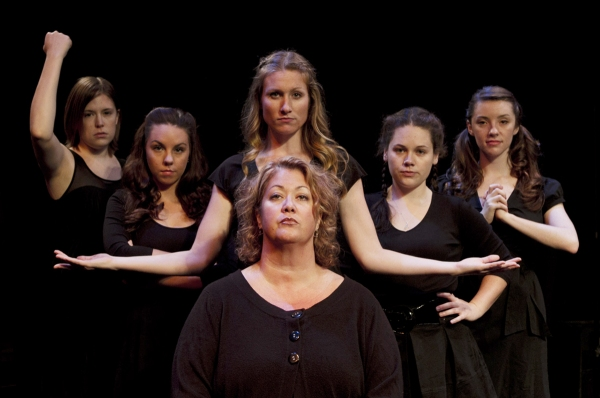 ‎(L to R) Andrea Heiden (Ilse), Caitlin Burnham (Anna), Carly Kincannon (Wendla), Abigail Gillan (Martha), Kristin O'Connell (Thea) and (front) Jolene Moffatt (adult women) from Spring Awakening, opening September 22, 2011 on the Phoenix Mainstage.