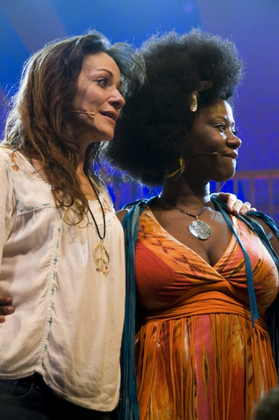 Caren Lyn Tackett & Phyre Hawkins  at HAIR Tour Closes on Broadway