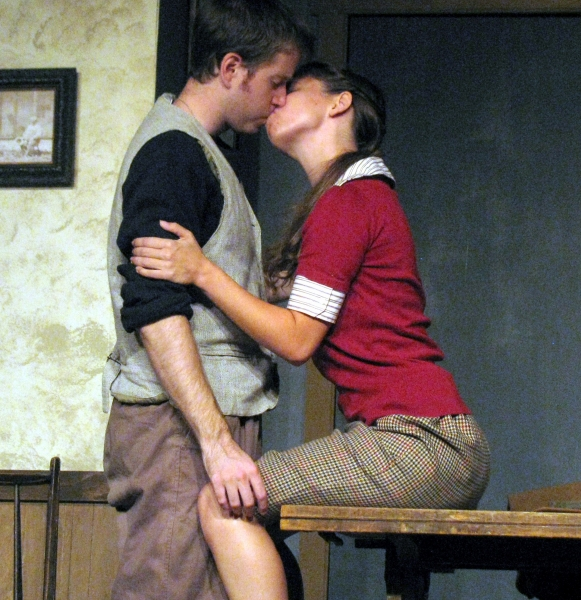 Patrick Albanesius and Kathryn Skelly at RIDING THE COMET at Actors' NET