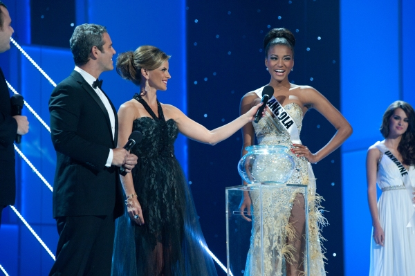 Co-hosts Andy Cohen and Natalie Morales with Miss Angola 2011, Leila Lopes, as she answers her final question from one of the judges during the LIVE NBC broadcast of the 2011 MISS UNIVERSE® Competition from Credicard Hall in SÃÆ'£o Paulo, Braz