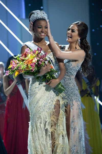 Miss Angola 2011, Leila Lopes is crowned the winner of the 2011 MISS UNIVERSEÃ'Â�® Competition by Miss Universe 2010, Ximena Navarrete. She celebrates on stage during the LIVE broadcast on NBC from Credicard Hall in SÃ�'£o Paulo, Brazil on Septemb